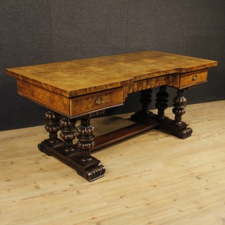 Italian Writing Desk In Walnut, Burl Walnut, Mahogany From 20th Century