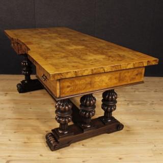 Italian Writing Desk In Walnut, Burl Walnut, Mahogany From 20th Century