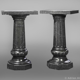 A Pair of Napoleon III Carved Green Granite Columns