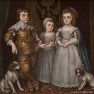 A KPM Porcelain Plaque Depicting The Three Eldest Children of Charles I