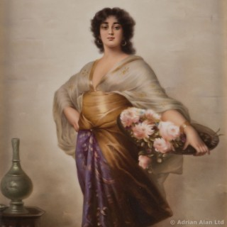 A KPM Porcelain Plaque Depicting a Woman With a Basket of Flowers