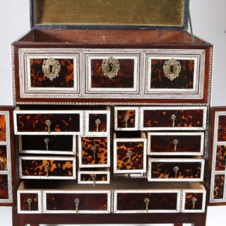 INDO PORTUGUESE TORTOISESHELL AND IVORY CABINET – 17TH CENTURY