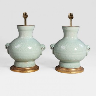 PAIR OF CHINESE CELADON GREEN VASES AS LAMPS
