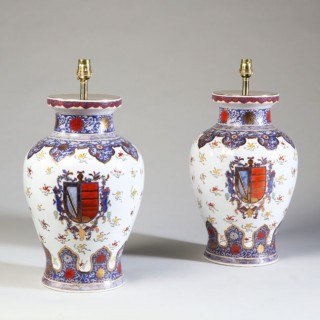 PAIR OF 19TH CENTURY SAMSON PORCELAIN VASES MOUNTED AS LAMPS