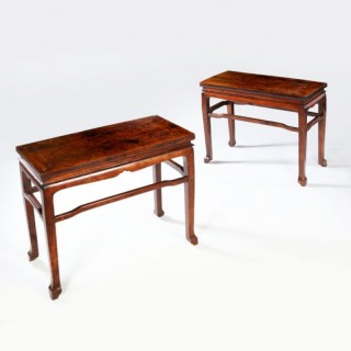 PAIR OF CHINESE LONGYANMU SIDE TABLES