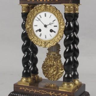 An Original Inlayed French Portico Clock circa:1870