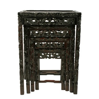 Nest of Four Chinese Rosewood Tables