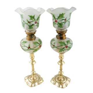Pair of Victorian 'Peg' Oil Lamps