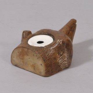 Antique Treen 19th Century Decorated Beech Fox Head Ink Well
