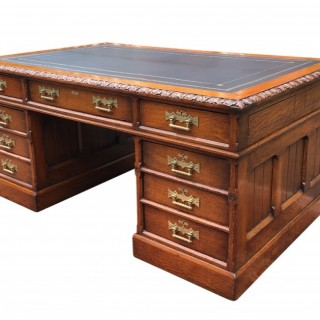 Large Antique Oak Gothic Revival Pedestal Desk