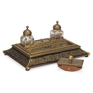 Victorian era inkstand with Boulle marquetry in ebony and brass