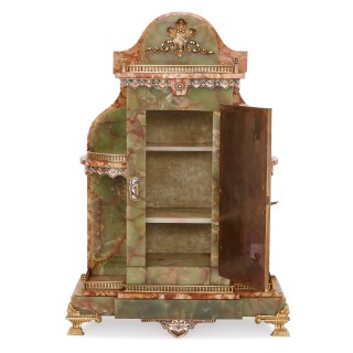 French onyx and enamel miniature table cabinet