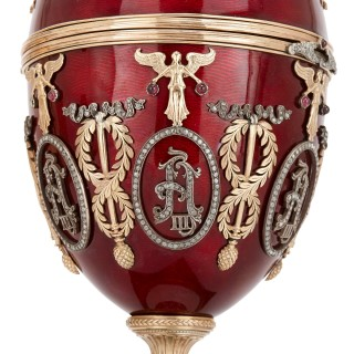 Russian gold, diamond, nephrite and enamelled egg, in the style of Faberge