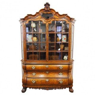 Dutch Marquetry Inlaid Walnut and Fruitwood Display Cabinet