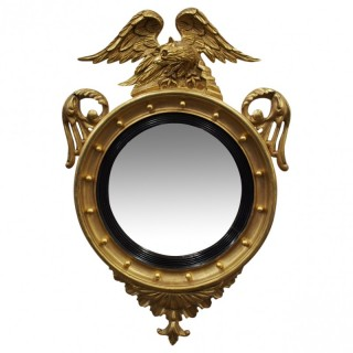 Regency Style Gilded Convex Mirror