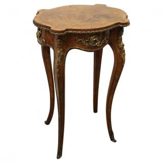French Ormolu Mount Burr Walnut Occasional Table