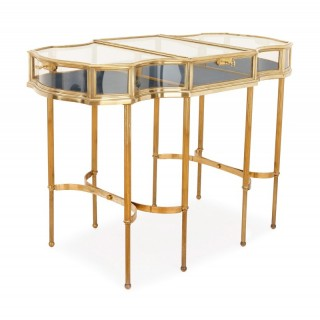 Velvet lined and glazed brass display table