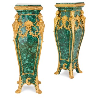 Pair of Louis XV style malachite and gilt bronze pedestals