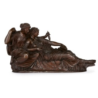 Large antique patinated bronze sculpture of the Two Fates by Barbedienne