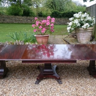 19th Century Mahogany Three Pedestal Dining Table