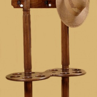 Double Sided Free Standing Elm Wood Hall Tree, Coat,Umbrella,Stick, Hat Stand