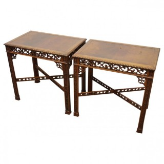 Pair of Low Chinese Chippendale Style Occasional Tables