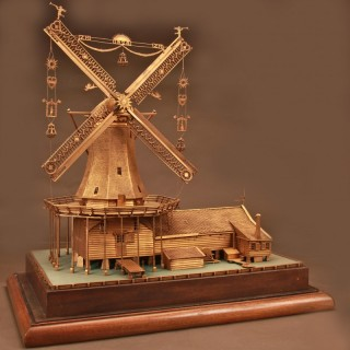 Dutch Gilded Silver Smith Model Windmill Amsterdam