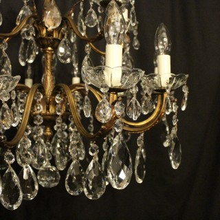 Italian Gilt & Crystal 15 Light Antique Chandelier