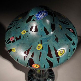 Rubi Glass with Millefiori/Iridescent Steuben Style Table Lamp