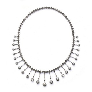 An antique, French, diamond fringe necklace