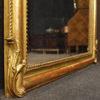 French Mirror In Gilt Wood And Plaster With Little Angel From 19th Century