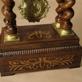 Unusual Brown Twisted Columns Rosewood Inlayed French Portico Mantel Clock, Circa 1870