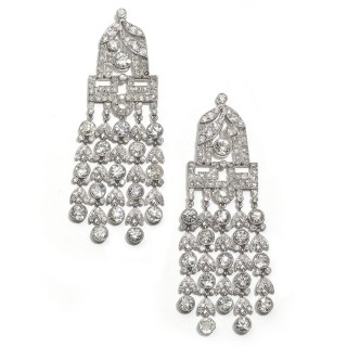 A pair of French, Art Deco, diamond drop earrings
