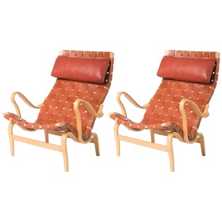 Pair of Birch Lounge Chairs by Bruno Mathsson