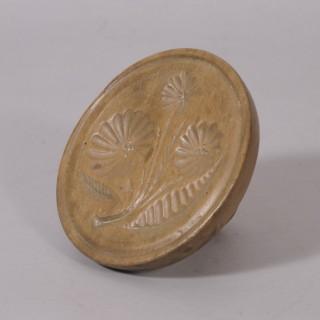 Antique Treen 19th Century Sycamore Butter Stamp
