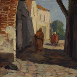 Dutch Oil On Board Painting Depicting Antique Village With Characters From 20th Century