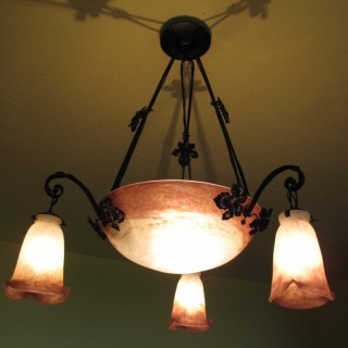 Art Nouveau Glass Hanging Light Signed: Muller Freres Luneville.