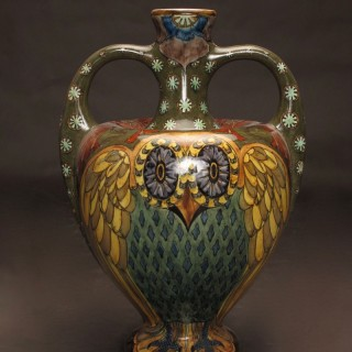 Rare and very decorative large Owl vase, signed: ROZENBURG The Hague,