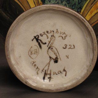 Rare and very decorative large Owl vase, signed: ROZENBURG The Hague,