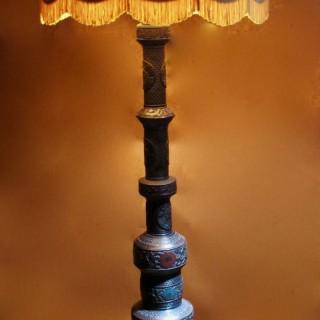 Bronze Oriental Champleve Standard Lamp