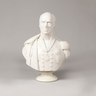 A Sculpted Carrara Marble Bust of Lt General Sir Lewis Grant KCB KCH (1778-1852)
