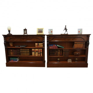Pair of 19th Century Mahogany Open Bookcases