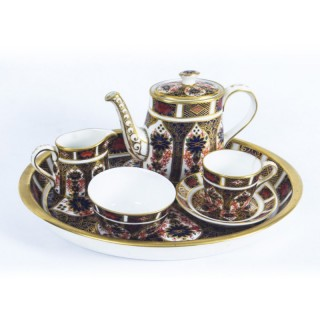 Antique English Royal Crown Derby Miniature Tea set on Tray 19th C