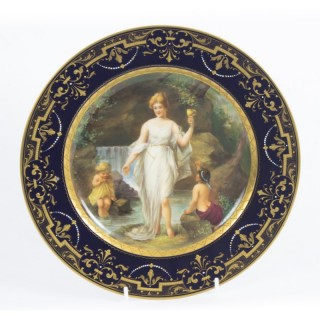 Antique Vienna Porcelain Cabinet Plate Bidenschild mark 19th C