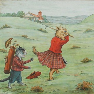 Louis Wain Golf Print