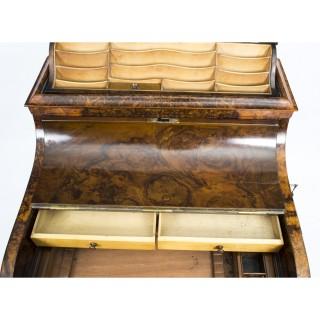 Antique Victorian Burr Walnut Pop Up Davenport Desk c.1860