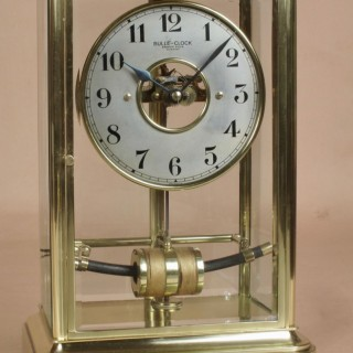 Bevelled 4 Glass Electrical Lacquered Brass Bulle Clock