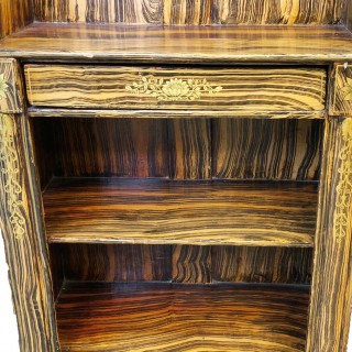 Antique Regency Period Simulated Faux Coromandel Waterfall Bookcase