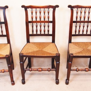 Antique Set Of Eight Spindle Back Dining Chairs