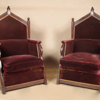 Dutch Amsterdam School Pair Jati Wood Throne Chairs Jac van den Bosch